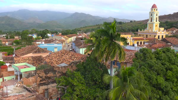 A beautiful overview of the town of Trinidad, Cuba with The Church Of The Holy Trinity visible. Royalty-free stock video