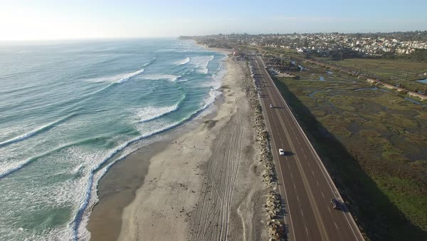 Aerial over the Pacific ocean near San Diego. Royalty-free stock video