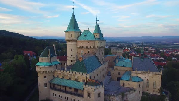 A beautiful aerial view of the romantic Bojnice Castle in Slovakia at dusk. Royalty-free stock video
