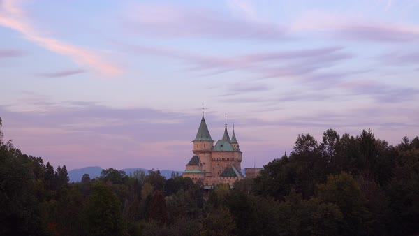 A beautiful view of the romantic Bojnice Castle in Slovakia at dusk. Royalty-free stock video