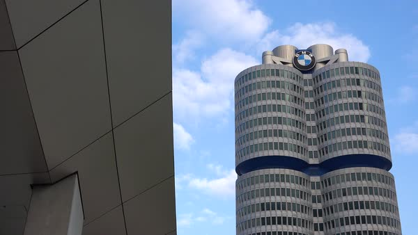 Establishing shot of BMW headquarters in Munich, Germany. Royalty-free stock video