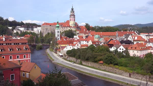 A beautiful view of Cesky Krumlov, a lovely small Bohemian village in the Czech Republic. Royalty-free stock video