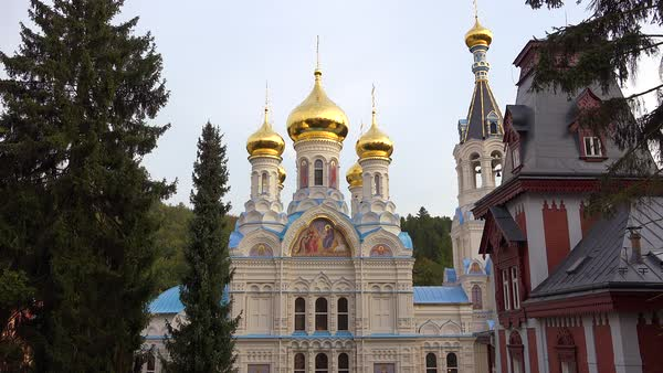 Russian Orthodox cathedral onion domes stand in the  town of Karlovy Vary, Czech Republic. Royalty-free stock video