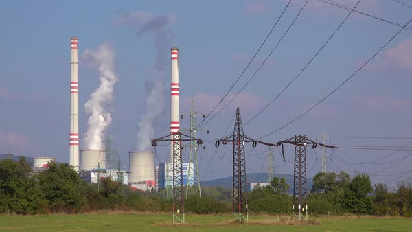 A large nuclear power plant generates electricity in the Czech Republic. Royalty-free stock video
