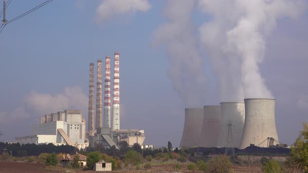 A large nuclear power plant generates electricity in Northern Greece. Royalty-free stock video