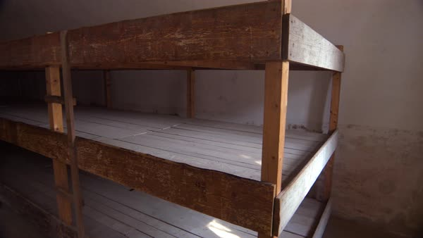 Interior of prisoner sleeping quarters at the Terezin Nazi concentration camp in Czech Republic. Royalty-free stock video