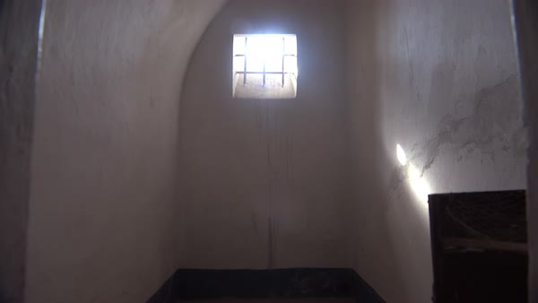 Interior of solitary confinement cell at the Terezin Nazi concentration camp in Czech Republic. Royalty-free stock video