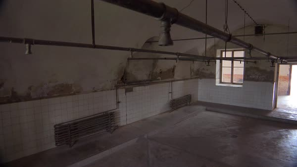 Interior of showers at the Terezin Nazi concentration camp in Czech Republic. Royalty-free stock video