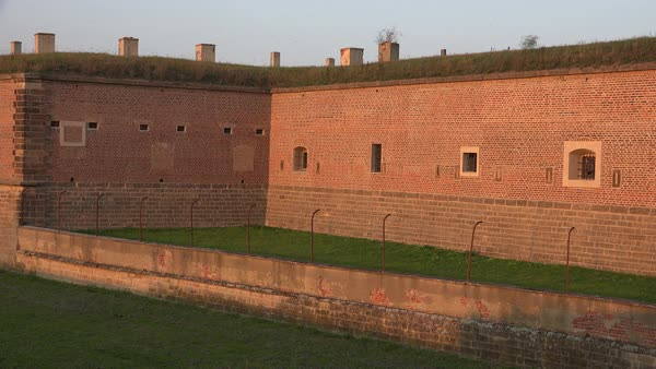 Walls and a moat form the entrance at the Terezin Nazi concentration camp in Czech Republic. Royalty-free stock video