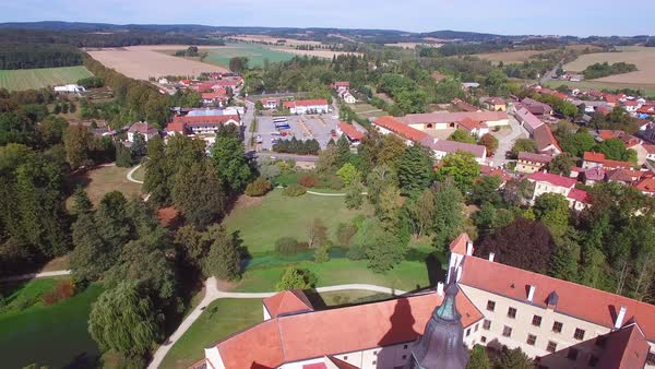 An aerial over the quaint village of Telc in the Czech Republic. Royalty-free stock video