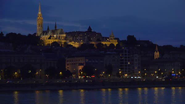 View at night over the Danube River in Budapest, Hungary. Royalty-free stock video