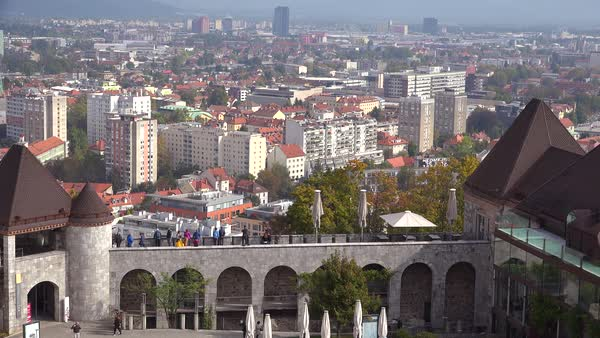 High angle establishing shot of Ljubljana, the capital of Slovenia. Royalty-free stock video