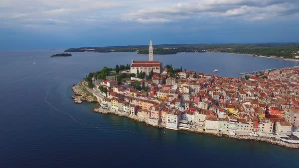 Beautiful aerial shot of the town of Rovinj in Croatia. Royalty-free stock video