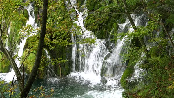 Beautiful waterfalls are found everywhere at Plitvice National Park in Croatia. Royalty-free stock video