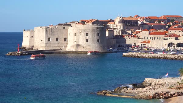 Establishing shot of Dubrovnik, Croatia with fort. Royalty-free stock video