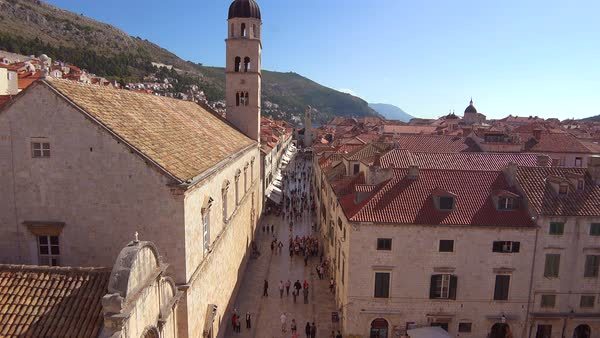 Beautiful view over the skyline and main street of the old city of Dubrovnik, Croatia. Royalty-free stock video