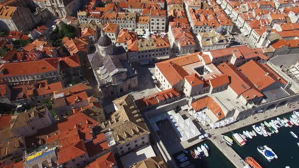 Aerial tilt up view over the old city of Dubrovnik, Croatia. Royalty-free stock video