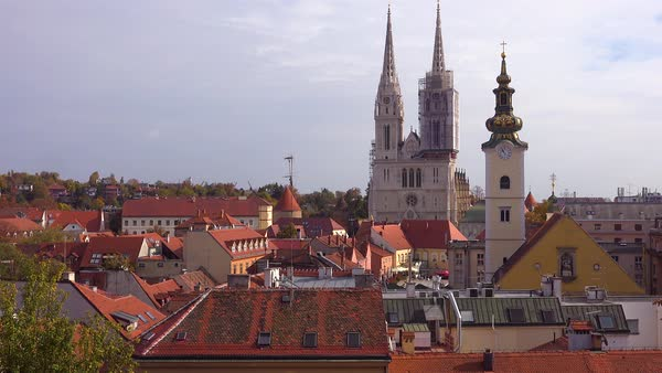 Establishing shot of the skyline of Zagreb, Croatia. Royalty-free stock video