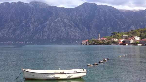 A rowboat on the shores of Boka Bay, Montenegro. Royalty-free stock video