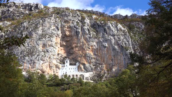 Establishing shot of the Ostrog monastery in Montenegro. Royalty-free stock video