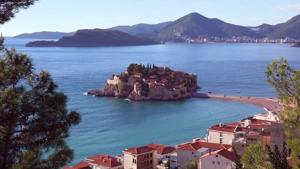 Establishing shot of the beautiful Sveti Stefan island in Montenegro. Royalty-free stock video
