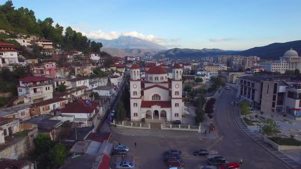 Aerial shot over Berat, Albania. Royalty-free stock video