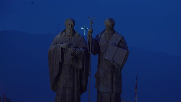 Religious statues dominate the night skyline in Skopje, Macedonia. Royalty-free stock video