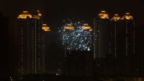 Fireworks in the city of Shanghai Royalty-free stock video