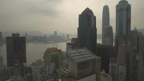 Aerial shot of skyscrapers in downtown Hong Kong Royalty-free stock video