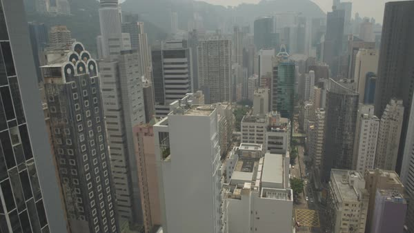 Aerial shot of high-rise buildings in downtown Hong Kong Royalty-free stock video