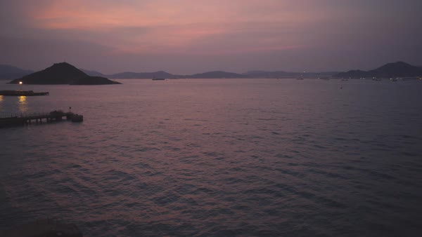 Aerial shot of sunset over sea at Hong Kong Royalty-free stock video