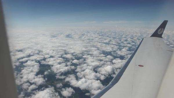 Extreme wide shot of clouds through a plane window Royalty-free stock video