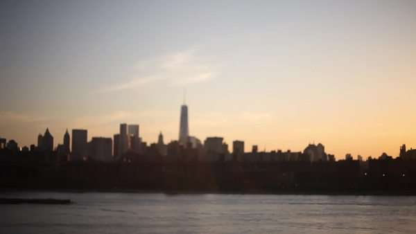 Extreme long shot of New York City view at sunset Royalty-free stock video