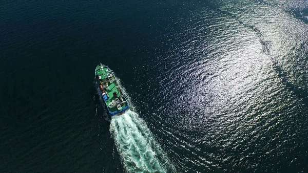 Aerial shot of a boat which is used to fish mussels in Shetland, Scotland Royalty-free stock video