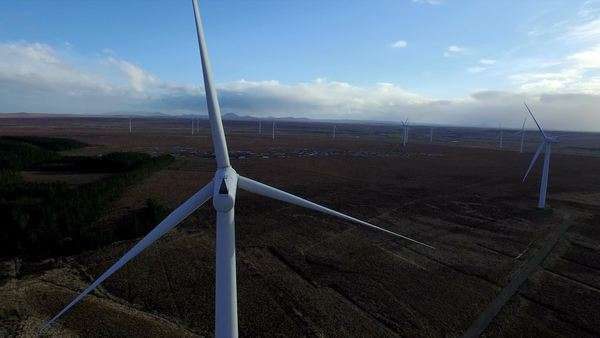 Stunning aerial shot of wind turbine's near Scrabster, highland, Scoland Royalty-free stock video