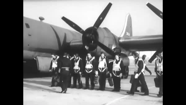 1944 - a b-29 crew boards their aircraft  royalty-free stock video