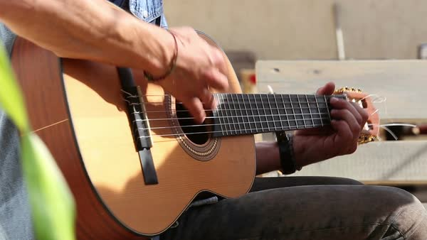 Close-up view of man's hands playing guitar Royalty-free stock video