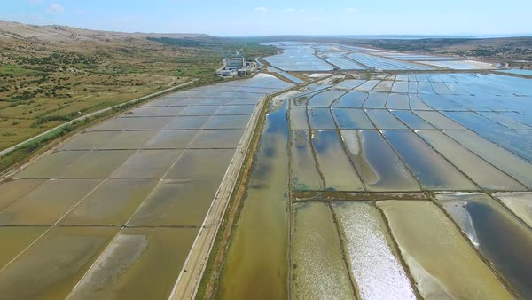 View from above of famous salt extraction ponds on Pag island, Croatia Royalty-free stock video