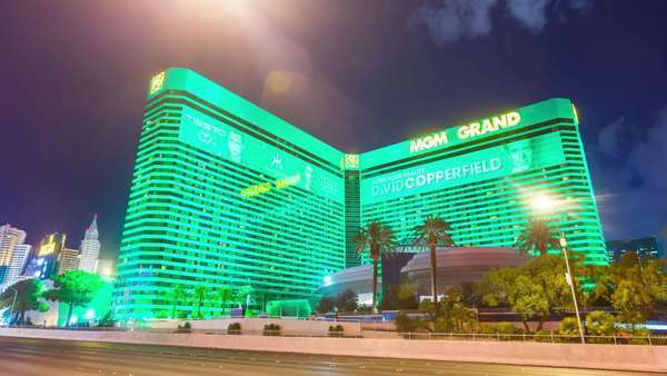 Hyperlapse of the MGM Grand at night in Las Vegas,  Nevada,  USA Rights-managed stock video