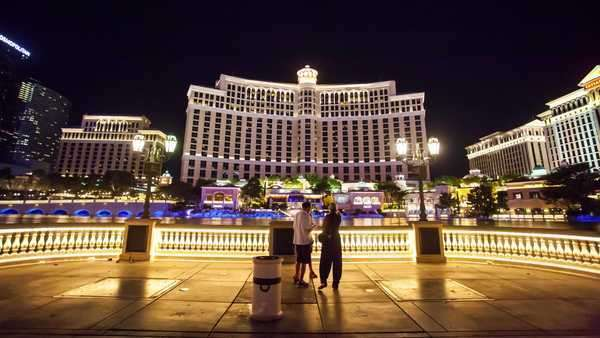 Hyperlapse of Belagio Casino at night in Las Vegas,  Nevada,  USA Rights-managed stock video