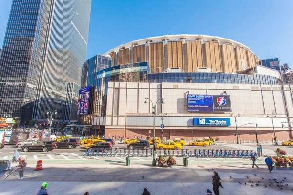 Hyperlapse shot of Madison Square Garden in Manhattan Rights-managed stock video