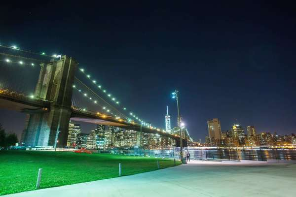 Hyperlapse shot of the Brooklyn Bridge with Lower Manhattan in the background Rights-managed stock video