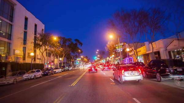 Hyperlapse shot of driving down Santa Monica Boulevard at night, Los Angeles Royalty-free stock video