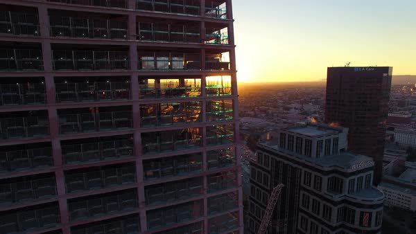 Aerial shot of a skyscraper under construction in downtown Los Angeles Royalty-free stock video