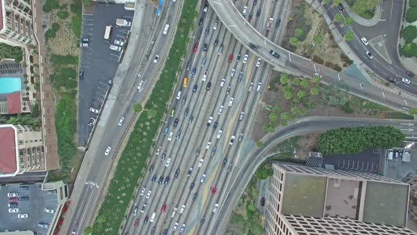 Wide shot of traffic on a freeway in Los Angeles Royalty-free stock video