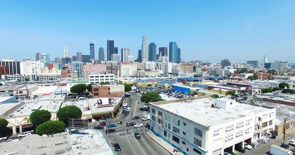 Aerial shot of the Flower District in Downtown Los Angeles Royalty-free stock video