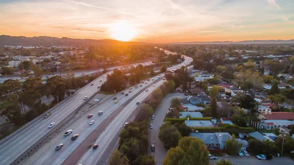 Hyperlapse of traffic on a freeway in Los Angeles Royalty-free stock video