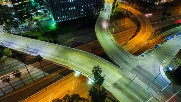 Static shot of traffic on an interchange in Los Angeles Royalty-free stock video