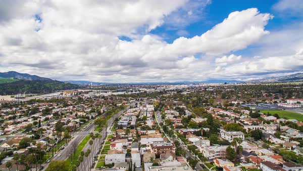 Drone shot of Glendale in Los Angeles County Royalty-free stock video