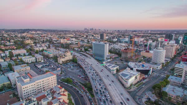 Drone shot of 101 freeway in Hollywood Royalty-free stock video